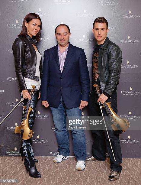 Linzi Stoppard Max Vaccaro and Ben Lee attend FUSE record signing deal on June 29 2009 in London England