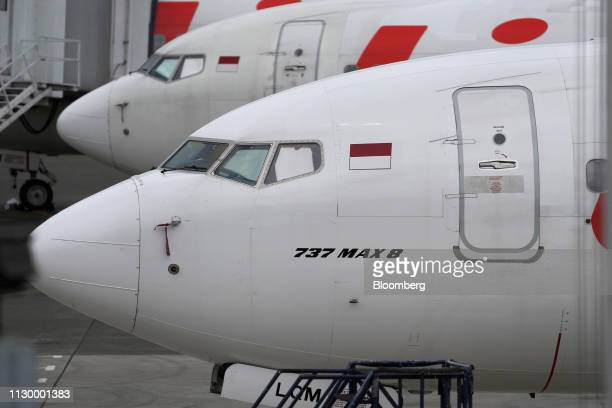 A Lion Air Boeing Co 737 Max 8 aircraft sits on the tarmac at SoekarnoHatta International Airport in Cenkareng Indonesia on Tuesday March 12 2019...