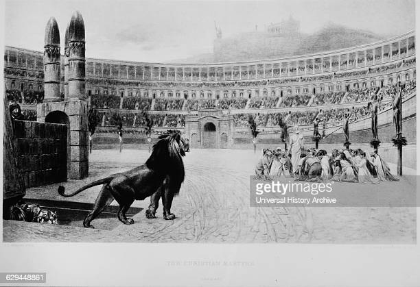 Lion and Christian Martyrs Colosseum Rome Italy 19th Century Engraving