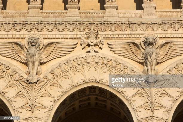 Lion and winged bull Heavenly creatures Basilica of NotreDame de Fourvi�re Lyon