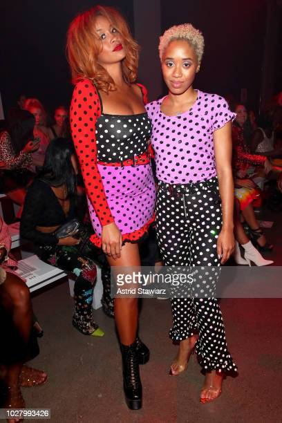 Lion Babe and Kitty Cash attend the Discount Universe front row during New York Fashion Week The Shows at Gallery II at Spring Studios on September 6...