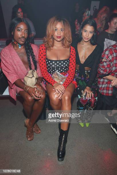 Lion Babe and Sami Miró attend the Discount Universe front row during New York Fashion Week The Shows at Gallery II at Spring Studios on September 6...