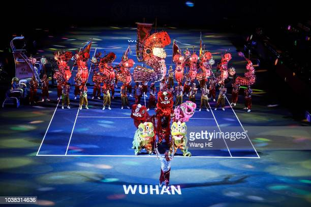 Lion Dance act perform at the opening ceremony during 2018 Wuhan Open at Optics Valley International Tennis Center on September 23 2018 in Wuhan China