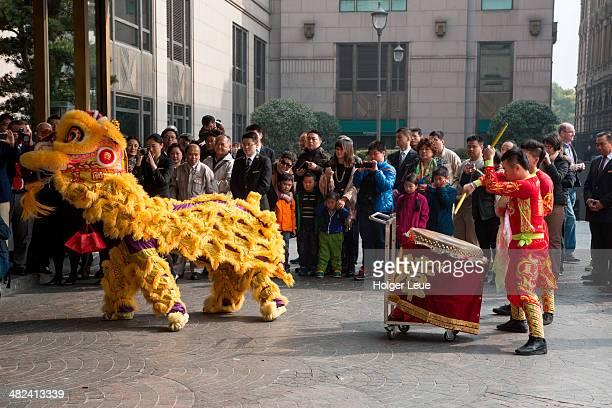 Lion dance at The Peninsula Shanghai Hotel