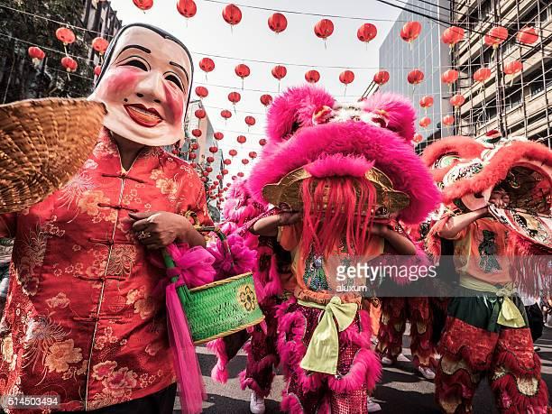Danza del león año nuevo chino Bangkok