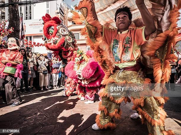 Ano novo chinês Dança do leão de Banguecoque