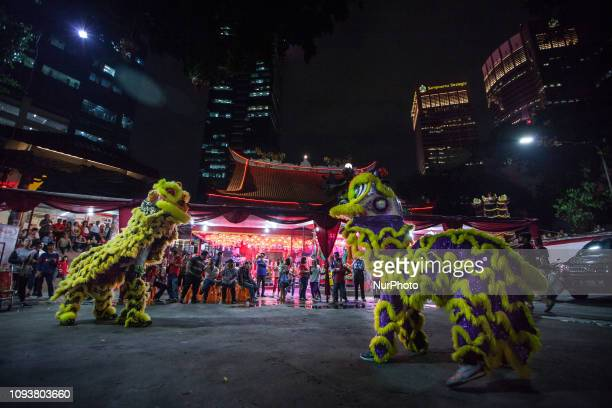 Lion dance is performed in the celebration Chinese New Year at a Chinese temple in Jakarta Indonesia on Monday midnight February 4 2019 The 2019...