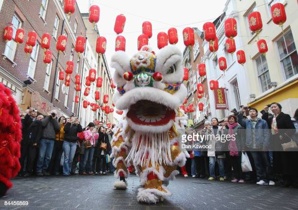 Lion Dancers perform in China Town on China's New Years Day on January 26, 2009 in London, England. The Ox, the Chinese Zodiac symbol ushered in...