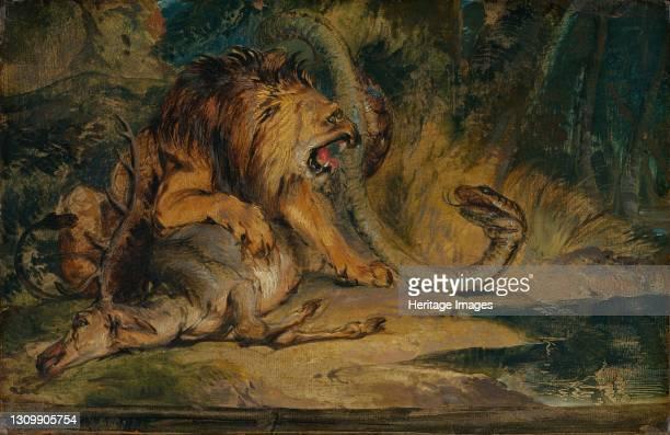 Lion Defending its Prey, circa 1840. Artist Edwin Henry Landseer. .