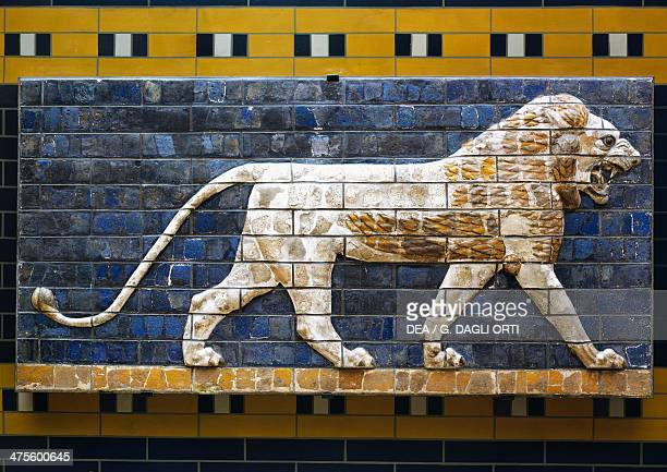 A lion detail from glazed brick tiles depicting mythological animals that adorned the Processional Way to the Ishtar Gate in Babylon during the reign...