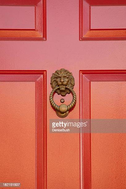lion door knocker - door knocker stock photos and pictures