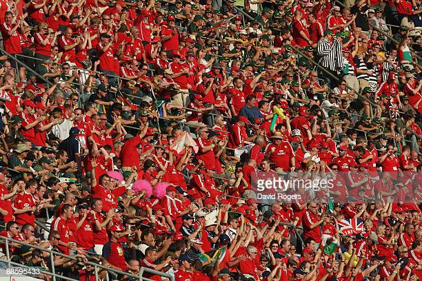 Lion fans look on during the First Test match between the South African Springboks and the British and Irish Lions at Kings Park Stadium on June 20...