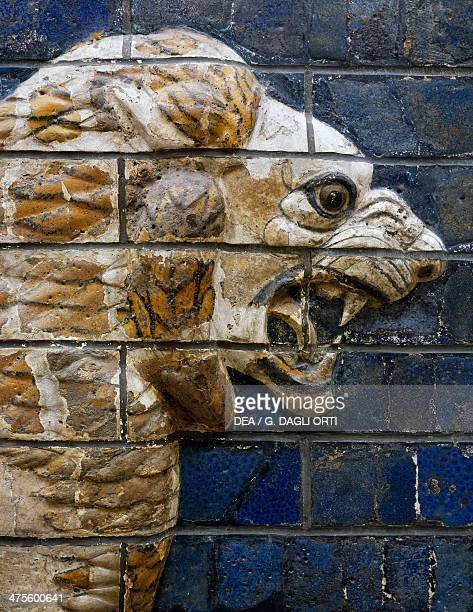 Lion head detail from glazed brick tiles depicting mythological animals that adorned the Processional Way to the Ishtar Gate in Babylon during the...