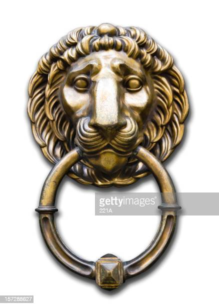 Lion head door knocker on white