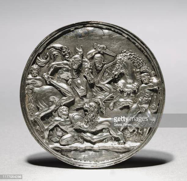 Lion Hunt, 1581 or later. Follower of Moderno . Silver; diameter: 6.6 cm .