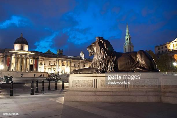 león en trafalgar square - lion feline fotografías e imágenes de stock