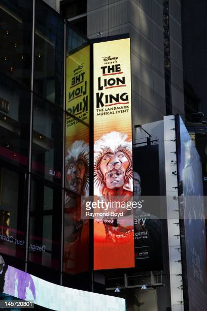 Lion King billboard along Broadway in New York New York on MAY 11 2012