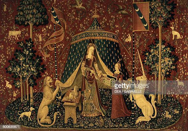 Lion lady with handmaid and unicorn 14841500 tapestry entitled A mon seul desir The Lady and the Unicorn cycle 15th century Paris Musée National Du...