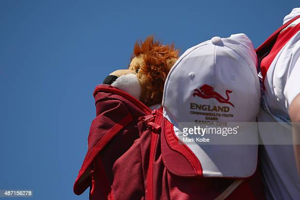 A lion mascot of team England is seen during the athletics competition at the Apia Park Sports Complex on day one of the Samoa 2015 Commonwealth...