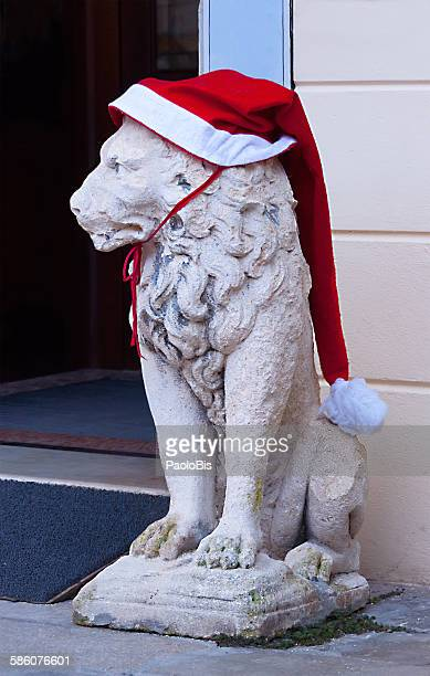 Lion of St. Marco with Santa Claus hat, Venice