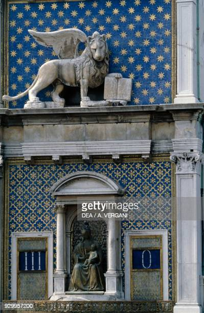 Lion of St Mark on the Clock Tower St Mark's Square Venice Veneto Italy