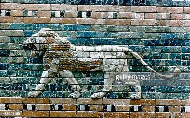 Lion passant from wall of the sacred way to the Ishtar Gate Babylon c575 BC The lion was the cult animal of Ishtar great goddess of the...