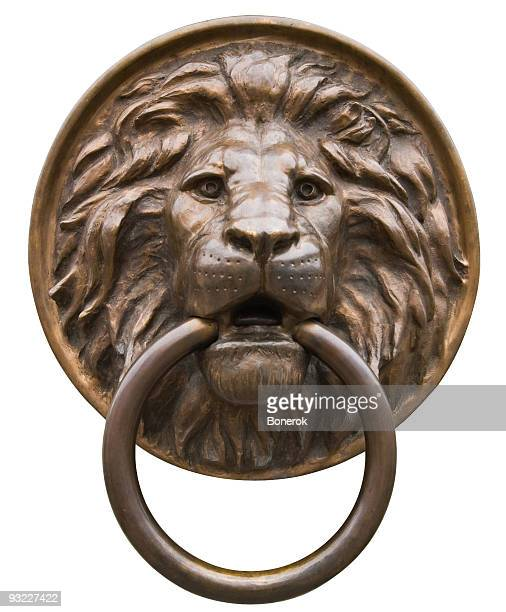 lion - door knocker stock photos and pictures