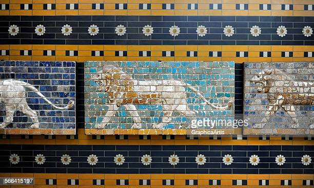 Lion relief from the processional frieze of the Ishtar Gate in Babylon glazed tile circa 575 BC reconstructed in the Archaeological Museum Istanbul...