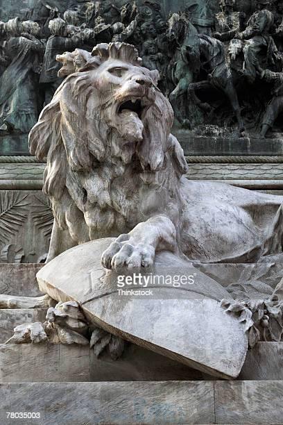 Lion sculpture at Galleria Vittorio Emanuele II, Milan, Italy