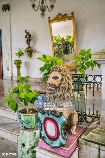 lion sculpture at Gedong Purworetno, a palatial building at the Kraton Ngayogyakarta Hadiningrat, the palace of the Yogyakarta Sultanate, Central Java
