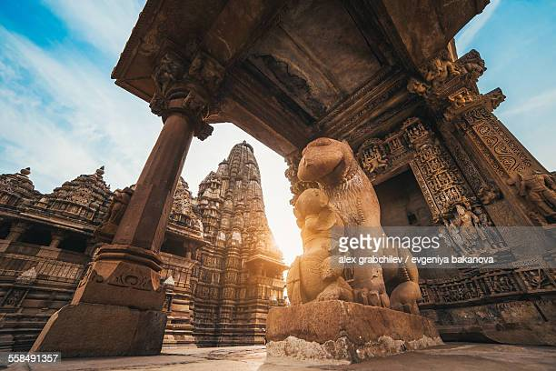 Lion statue at a temple in Khajuraho
