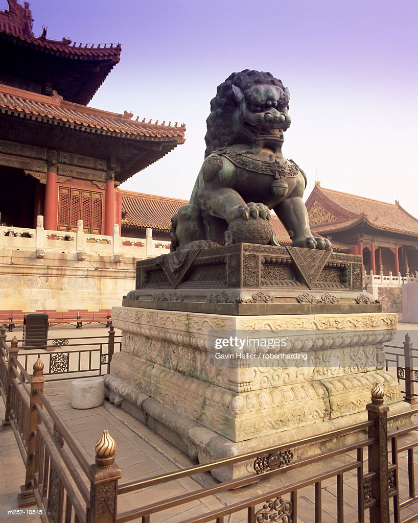 Lion statue, Forbidden City, Beijing, China, Asia : Foto de stock