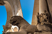 Lion statue guarding the entrance of the Cathedral of Saint Domnius in Split, Croatia