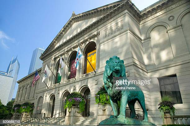 lion statue in front of the art institute of chicago - art institute of chicago stock pictures, royalty-free photos & images