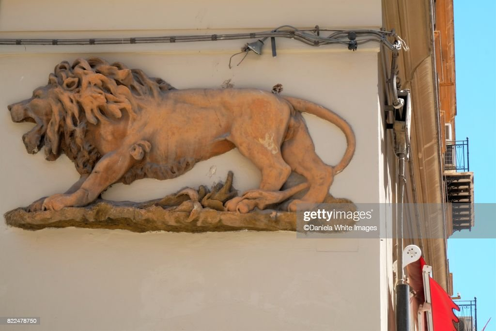 Lion stucco frieze on a wall, Palermo, Sicily, Italy. : Stock Photo