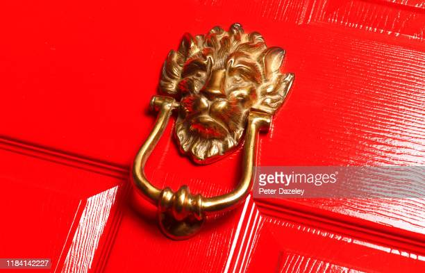 lion style door knocker on upmarket house - animal representation stock pictures, royalty-free photos & images