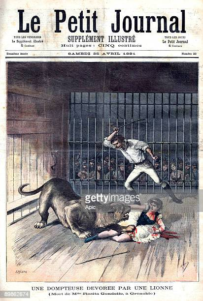 lion tamer died while performing firstpage of french newspaper Petit Journal april 25 1891