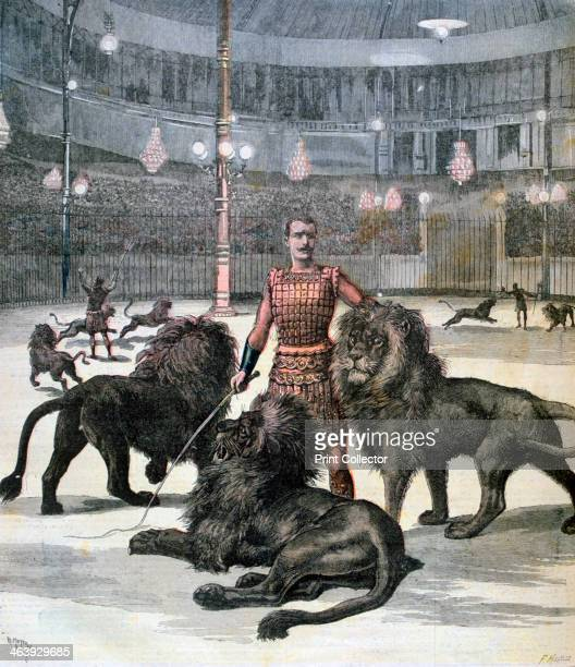 Lion taming at the L'hippodrome Paris 1891 A print from the Le Petit Journal 23rd May 1891