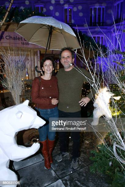 Lionel Abelanski and his wife Nathalie LevyLang attend the Inauguration of the 'Chalet Les Neiges 1850' on the terrace of the Hotel 'Barriere Le...
