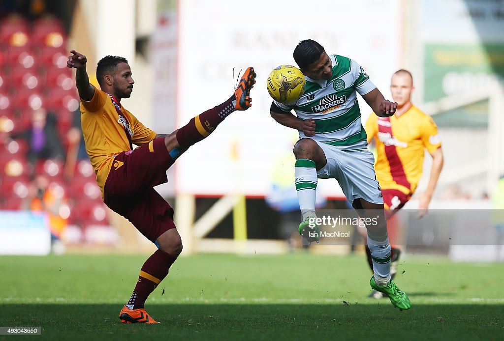Lionel Ainsworth of Motherwell vies with Emilio Izaguirre of Celtic during the Ladbrokes Scottish Premiership match between Motherwell and Celtic at Fir Park on October 17, 2015 in Motherwell, Scotland.