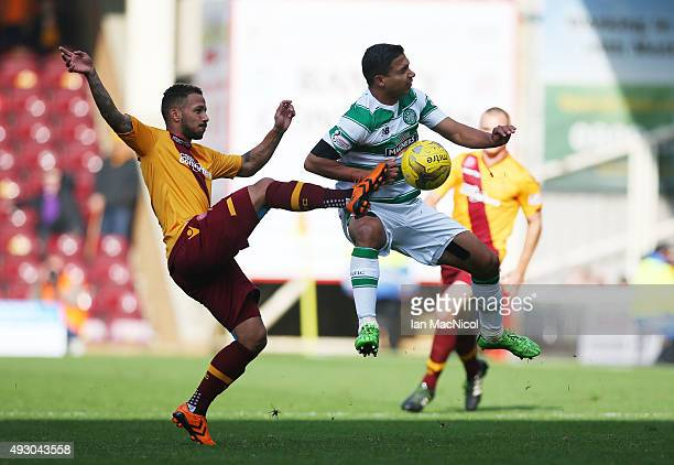 Lionel Ainsworth of Motherwell vies with Emilio Izaguirre of Celtic during the Ladbrokes Scottish Premiership match between Motherwell and Celtic at...