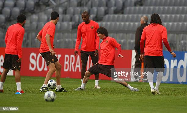 Lionel Andres Messi challenge the ball during the FC Barcelona training session at the Allianz Arena on April 13 2009 in Munich Germany Barcelona...