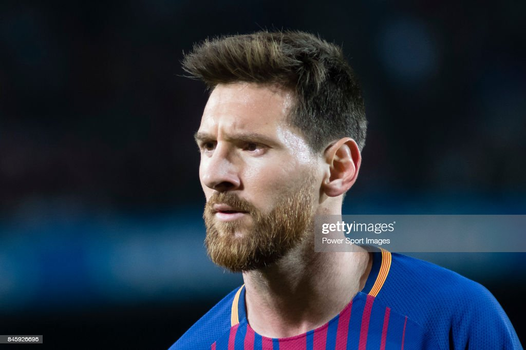 Lionel Andres Messi looks during the La Liga match between FC Barcelona vs RCD Espanyol at the Camp Nou on 09 September 2017 in Barcelona, Spain.
