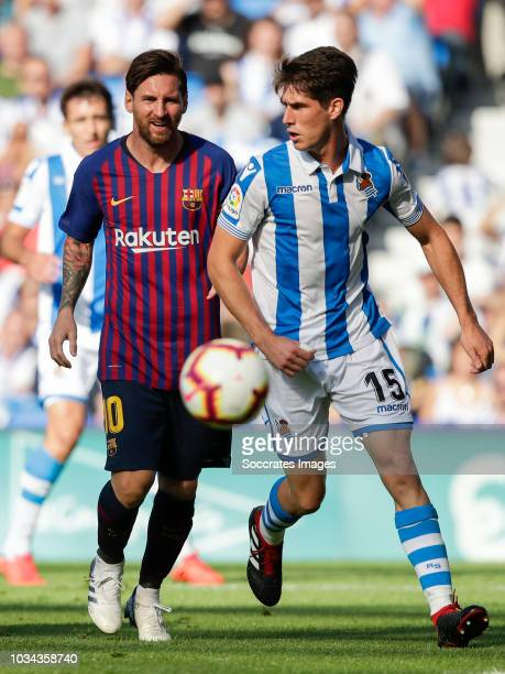 Lionel Andres Messi of FC Barcelona Aritz Elustondo of Real Sociedad Futbol during the La Liga Santander match between Real Sociedad v FC Barcelona...