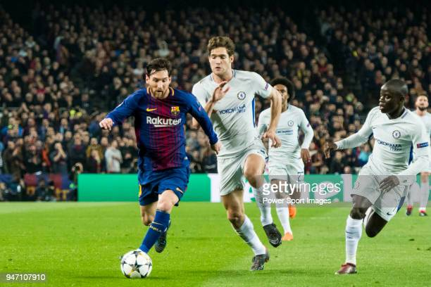 Lionel Andres Messi of FC Barcelona battles for the ball with Marcos Alonso of Chelsea FC during the UEFA Champions League 201718 Round of 16 match...