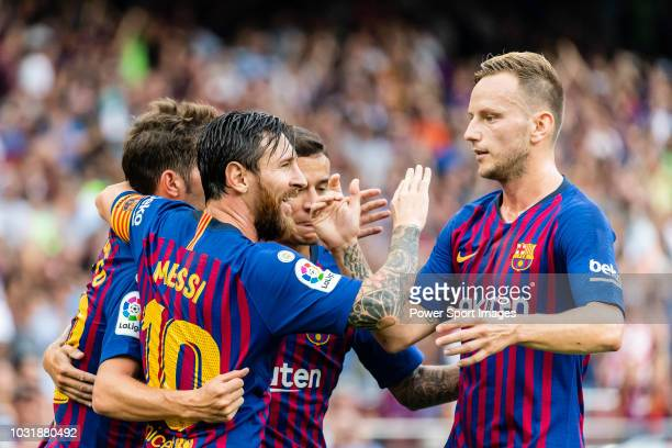 Lionel Andres Messi of FC Barcelona celebrates after scoring his goal with his teammates during the La Liga 201819 match between FC Barcelona and SD...