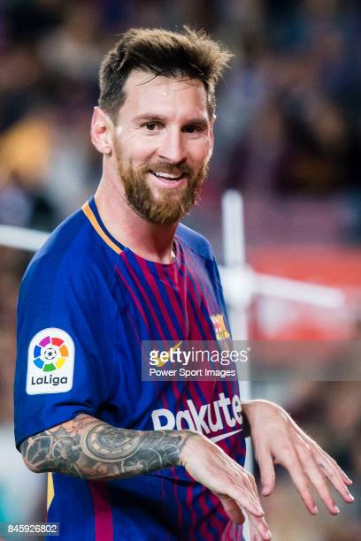 Lionel Andres Messi of FC Barcelona celebrates after scoring his goal during the La Liga match between FC Barcelona vs RCD Espanyol at the Camp Nou...