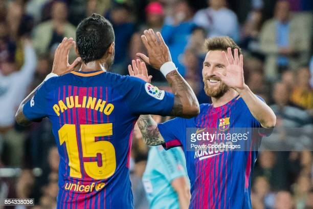 Lionel Andres Messi of FC Barcelona celebrates after scoring his goal with Jose Paulo Bezerra Maciel Junior Paulinho of FC Barcelona during the La...