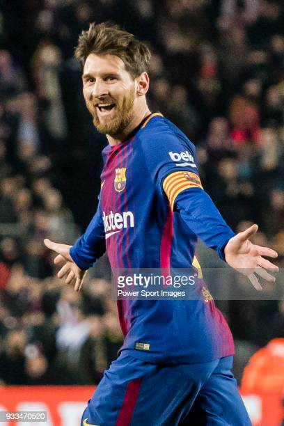 Lionel Andres Messi of FC Barcelona celebrates after scoring his goal during the La Liga 201718 match between FC Barcelona and Girona FC at Camp Nou...