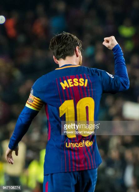 Lionel Andres Messi of FC Barcelona celebrates during the UEFA Champions League 201718 Round of 16 match between FC Barcelona and Chelsea FC at Camp...